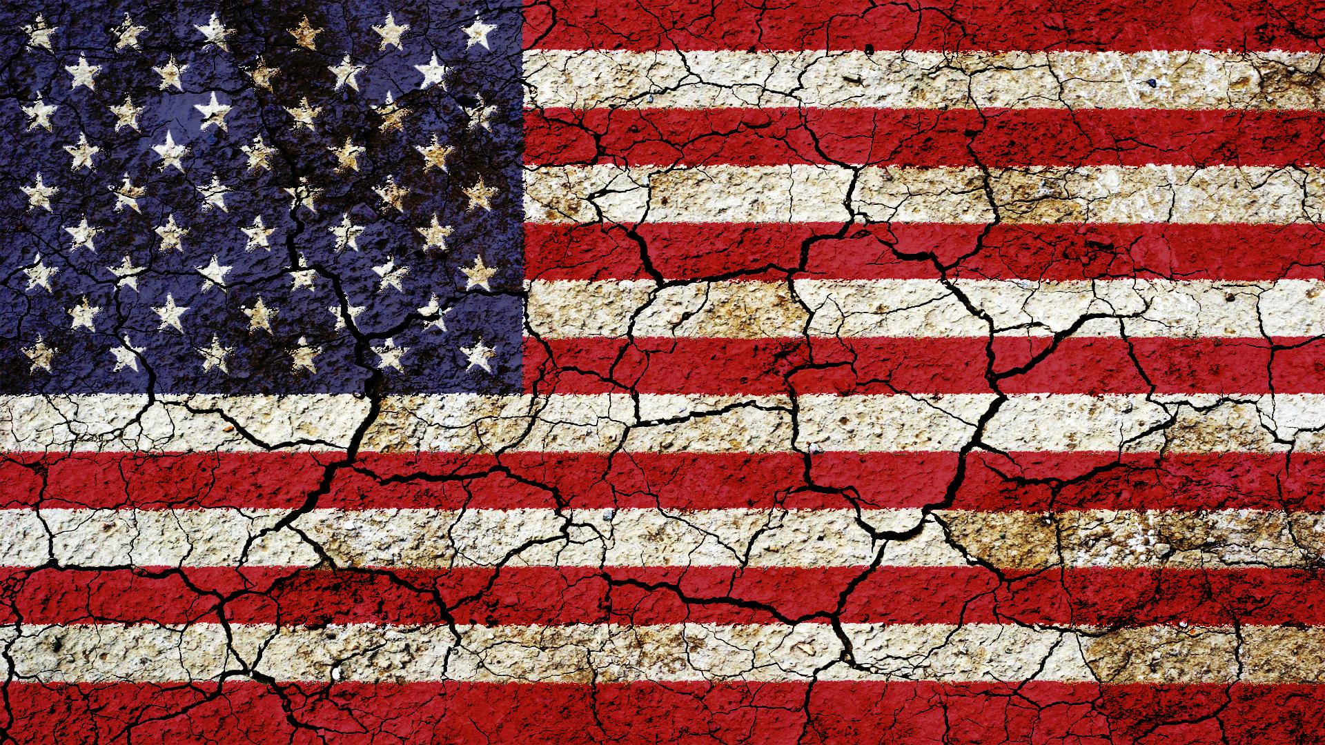 ひび割れたアメリカ国旗の画像 ジーソザイ